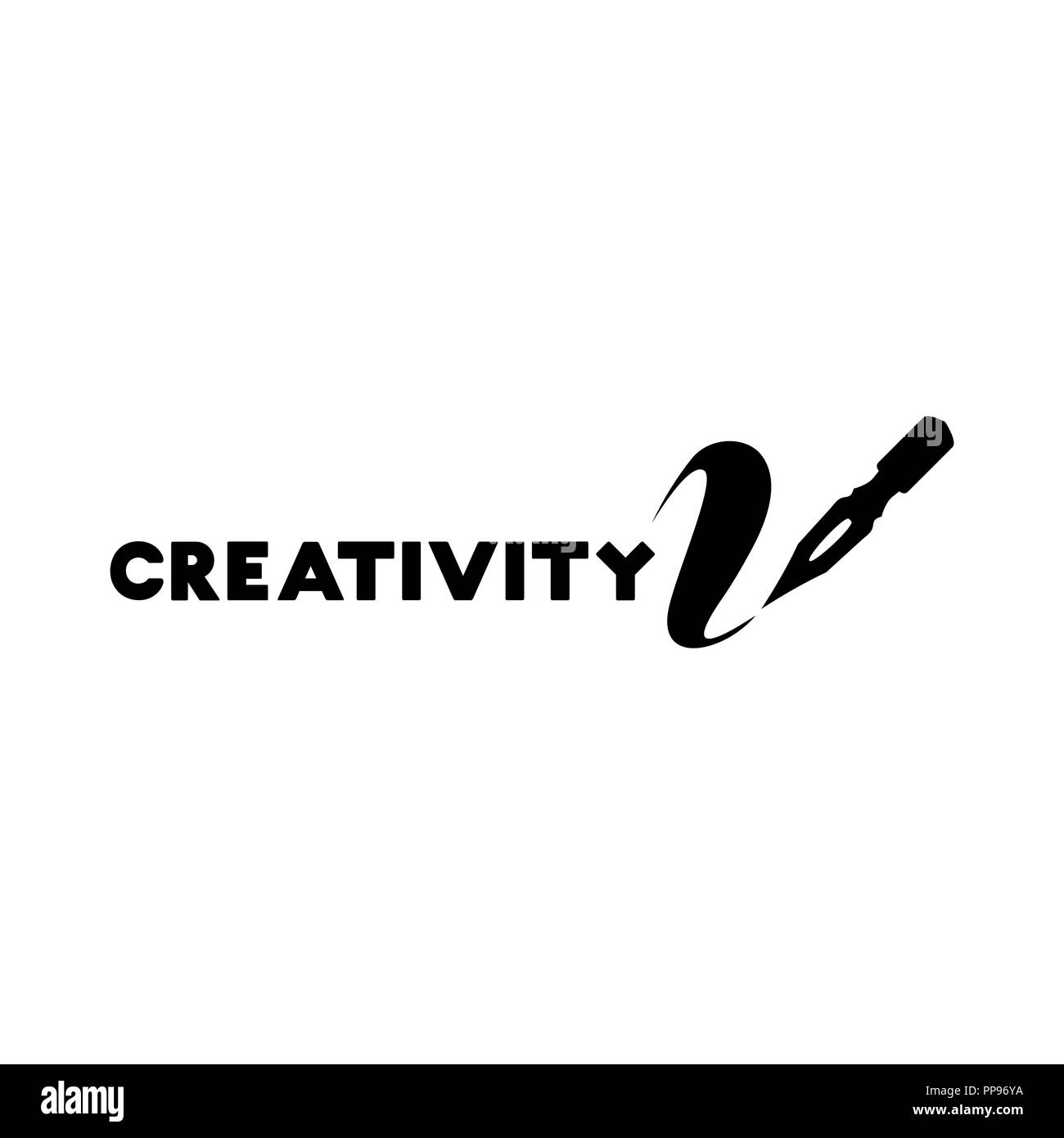 Creativity lettering logo isolated design. Craft shop sign with calligraphic pen. Black metal laser cut sign. Art and creative logotype for store layout or branding. Isolated vector - Stock Image