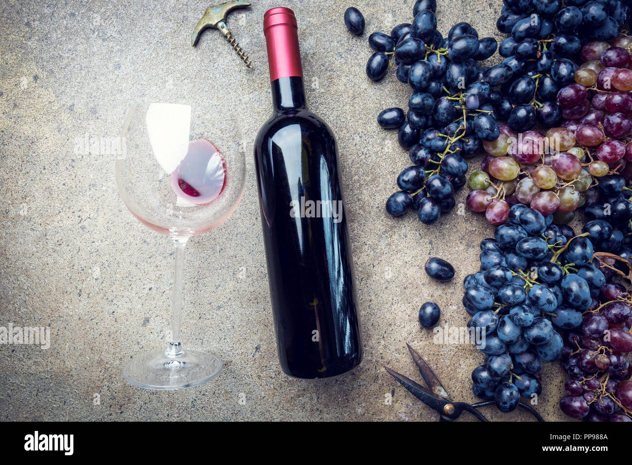 A bottle of red wine with glass and grapes on a gray stone background, copy space , top view. Stock Photo