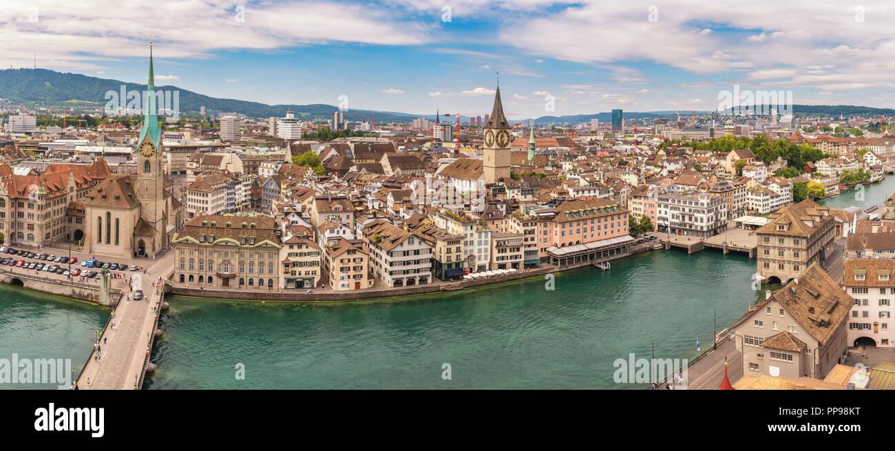 Zurich Switzerland, aerial view panorama city skyline from Grossmunster - Stock Image
