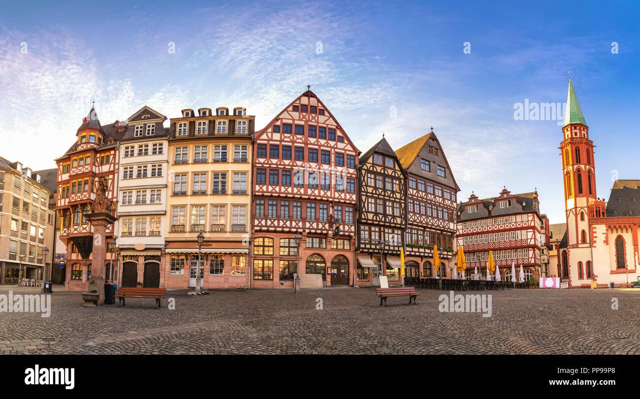 Frankfurt Germany, panorama sunrise city skyline at Romer Town Square Stock Photo
