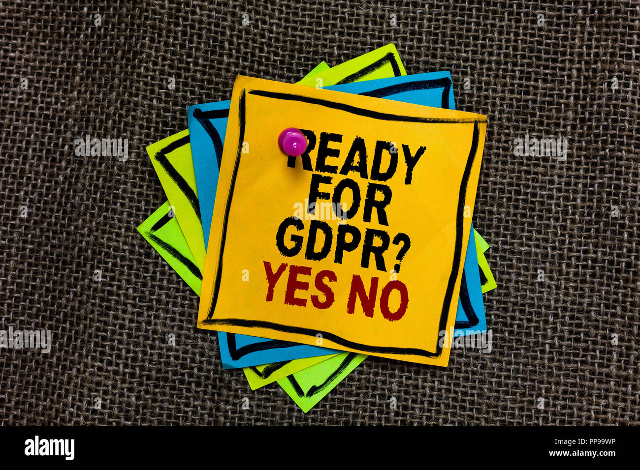 Text Sign Showing Ready For Gdpr Question Yes No Conceptual Photo