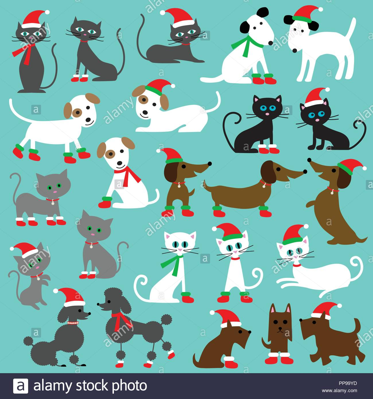 Christmas Cats And Dogs Clipart Graphics Stock Vector Art