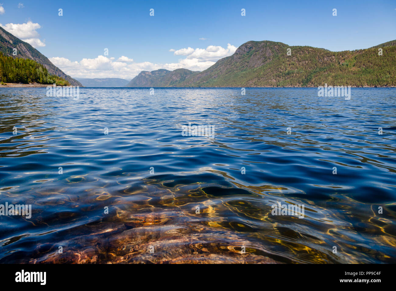 Crystal clear water of Lake Tinnsja (Tinn, Tinnsjo or Tinnsjoen) in Telemark County,  Norway, one of the largest lakes in Norway, and one of the deepe - Stock Image