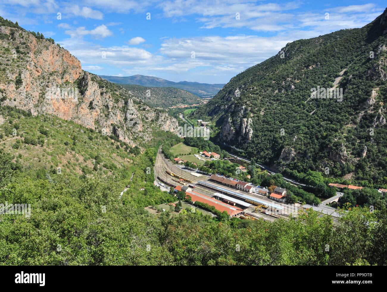 Railway station at Villefranche-de-Conflent, Pyrenees-Orientales, Occitanie, France - Stock Image