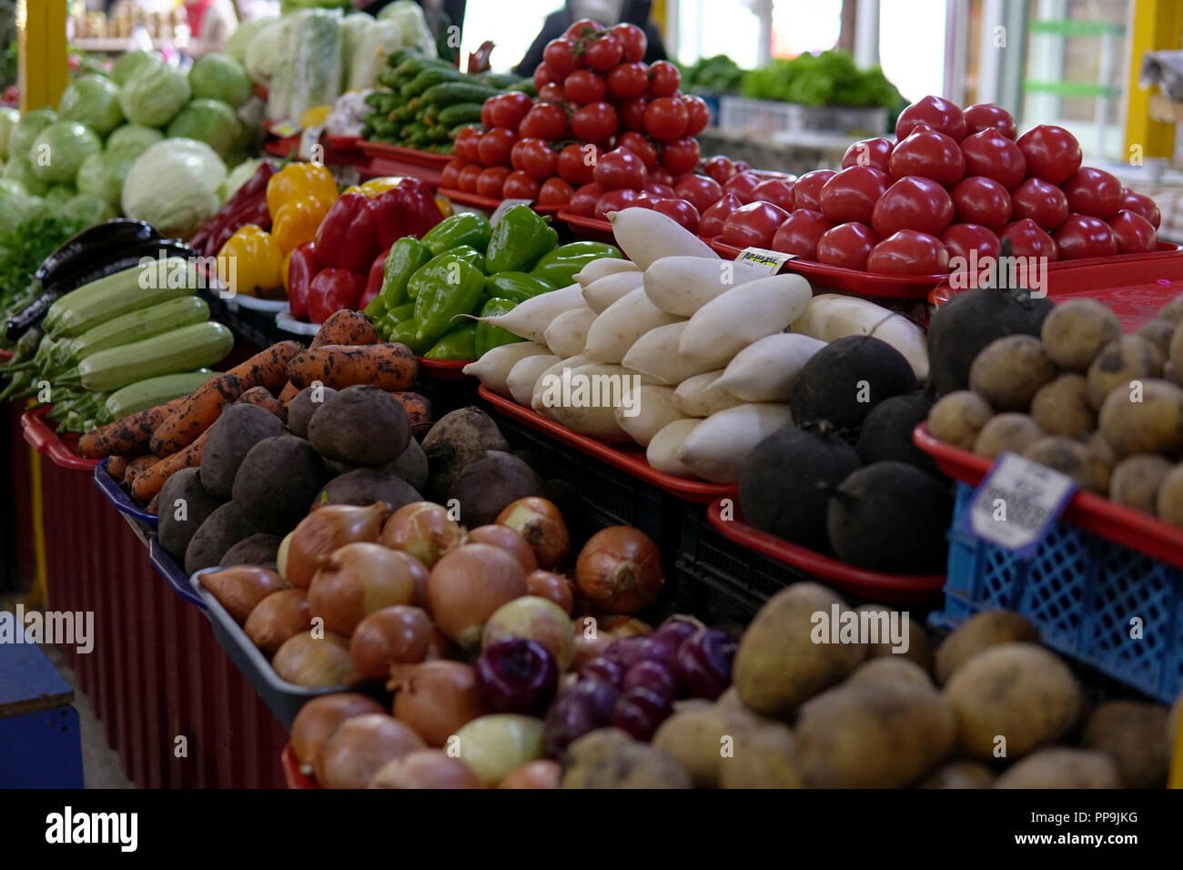fruit and vegetables apples oranges tomatoes tangerines-melons - Stock Image