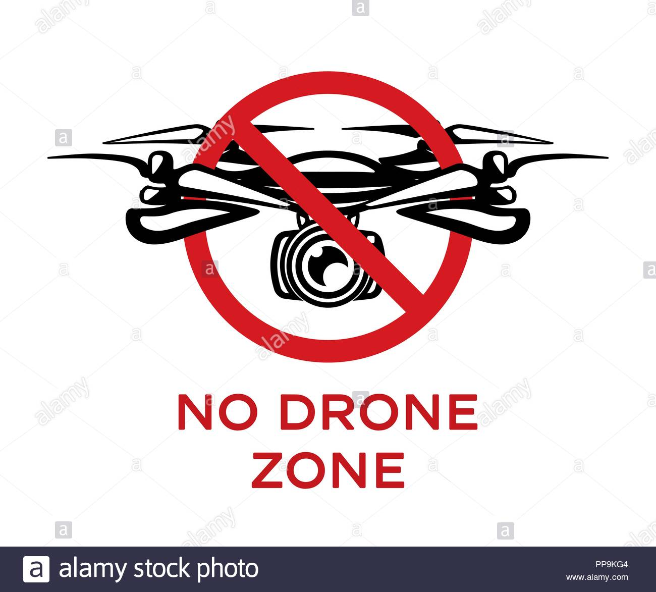 No drone zone vector sign isolated on white background. No fly zone - Stock Vector