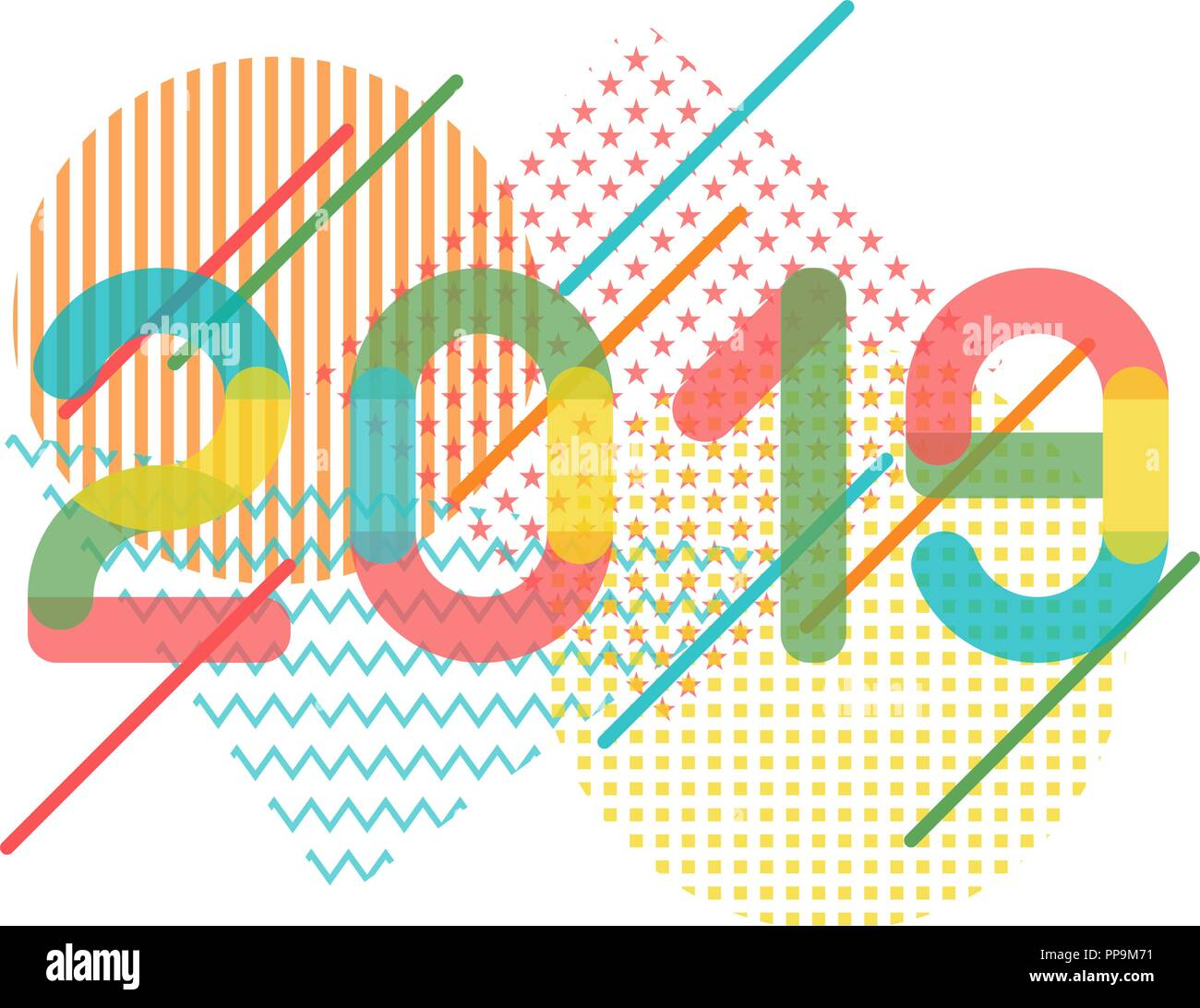 Geometrical abstract illustration for 2019 new year in - New year 2019 color ...
