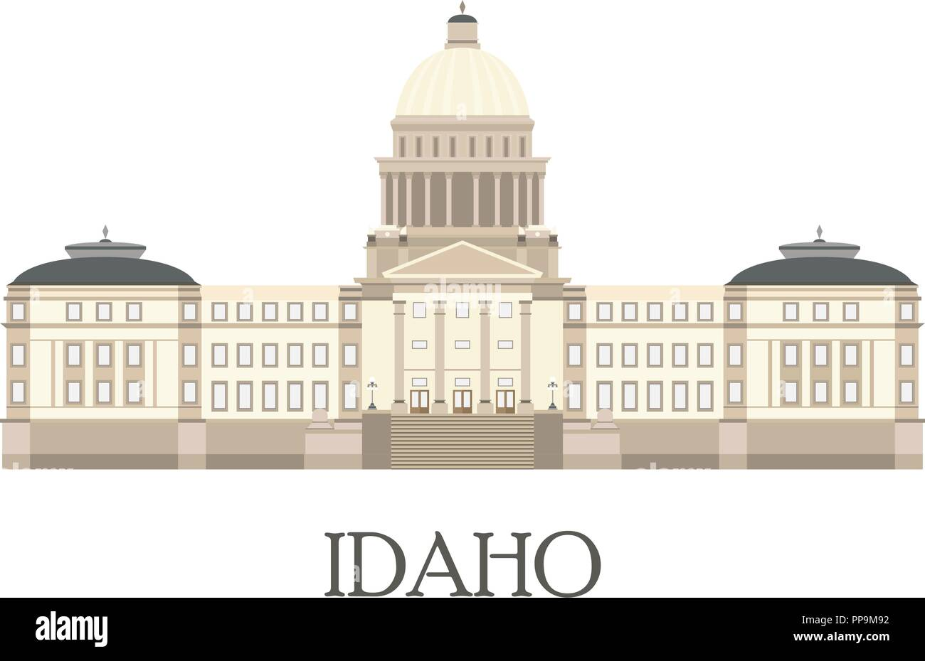 Flat isolated illustration of the Idaho State Capitol. Flat style vector. - Stock Vector