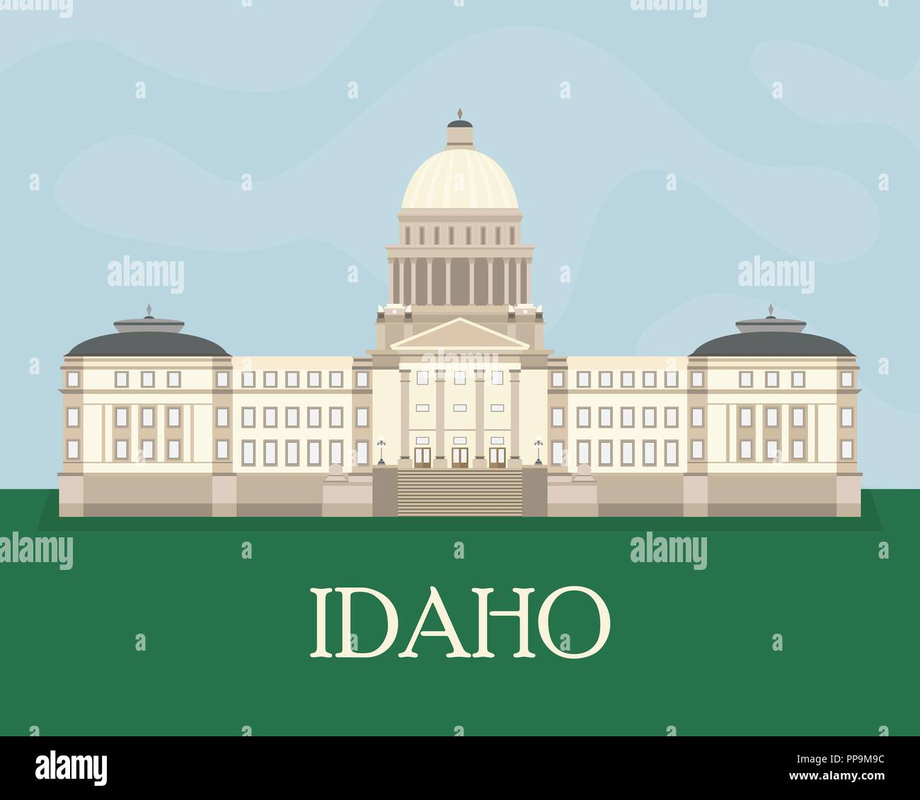 Flat color illustration of the Idaho State Capitol. Flat style vector. - Stock Vector