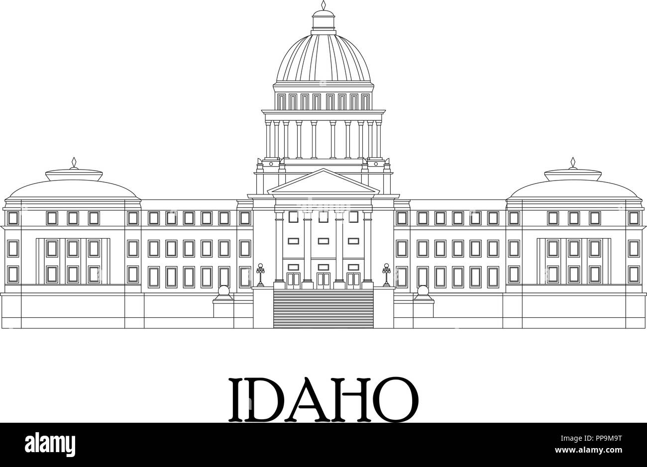 Flat illustration in lines of the Idaho State Capitol. Flat style vector. - Stock Vector