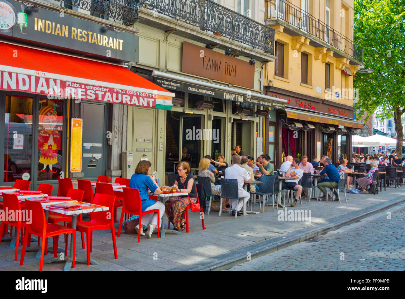 Restaurants, Rue Jules Van Praet, at Place Saint-Gery, Brussels, Belgium - Stock Image