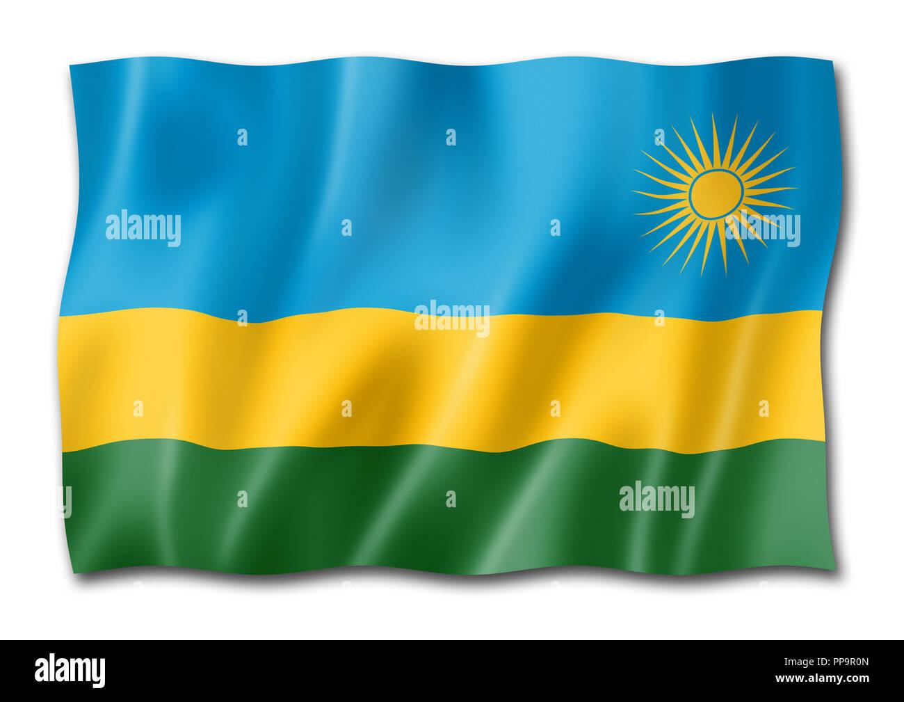 Rwanda flag, three dimensional render, isolated on white - Stock Image