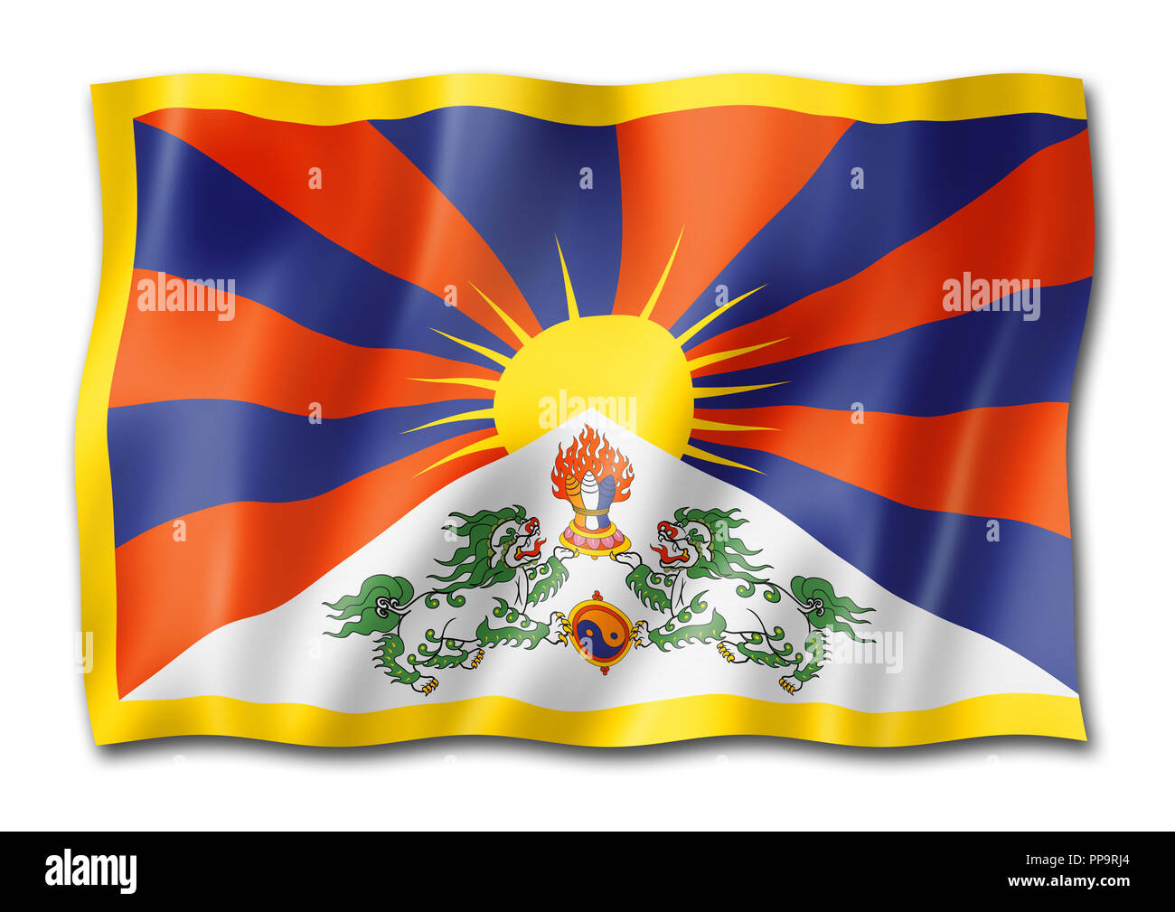 Tibet flag, three dimensional render,  isolated on white - Stock Image