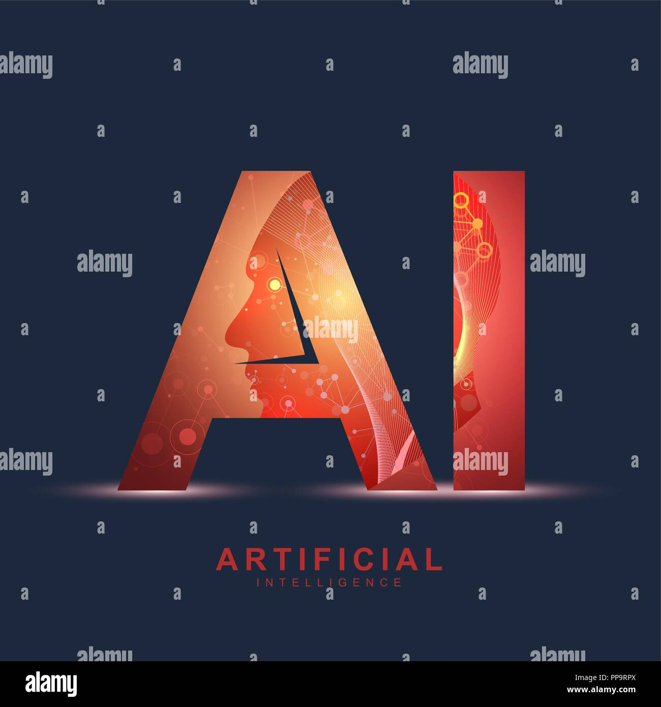 Artificial Intelligence Logo. Artificial Intelligence and Machine Learning Concept. Vector symbol AI. Neural networks and another modern technologies concepts. Technology sci-fi concept - Stock Image