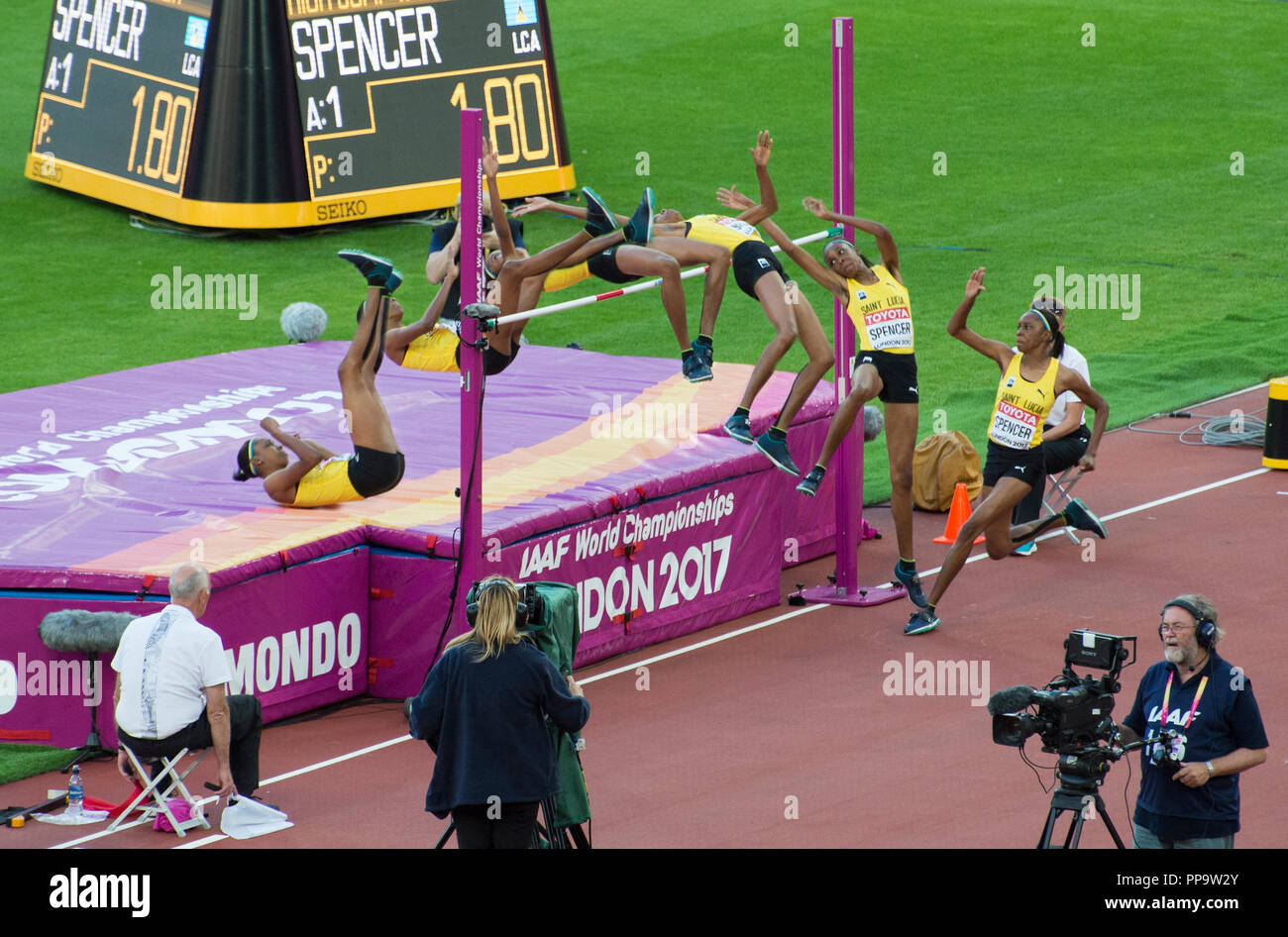 Time lapse high jump at the London 2017 World Athletics Championship - Stock Image