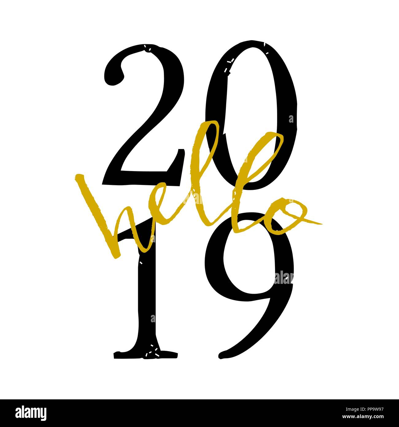 square greeting card template with typographic design for 2019 in