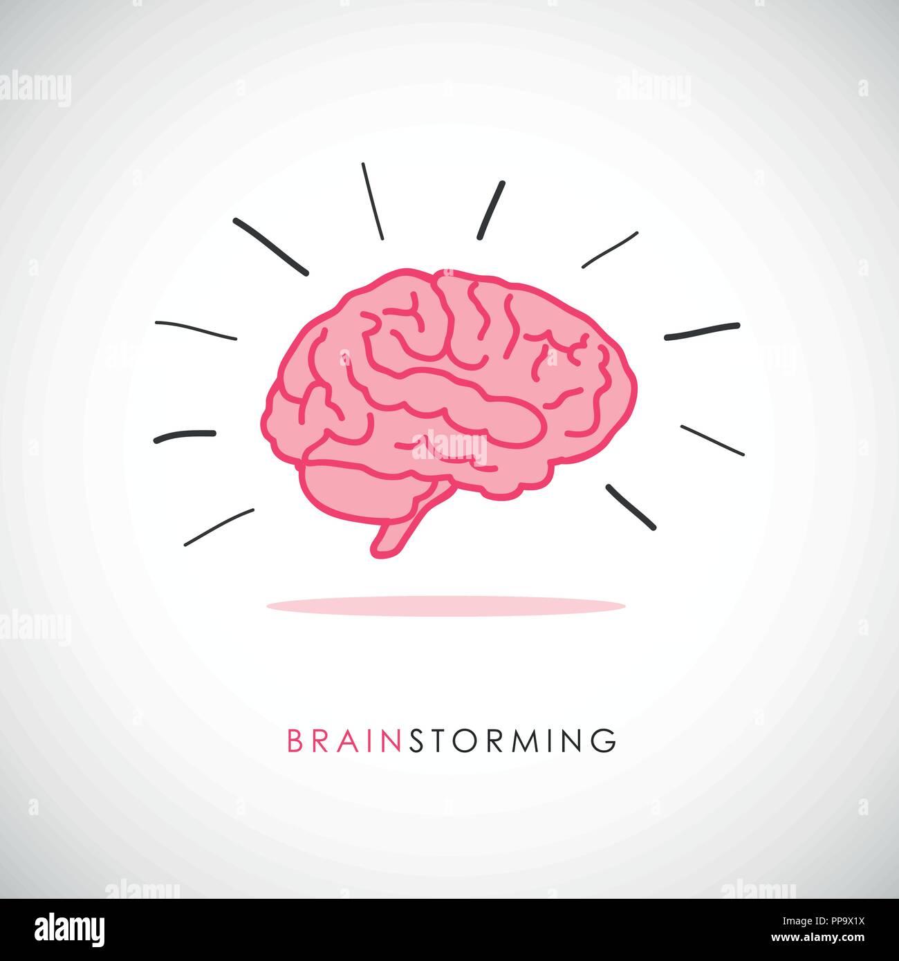 human brain icon brainstorming concept vector illustration - Stock Image