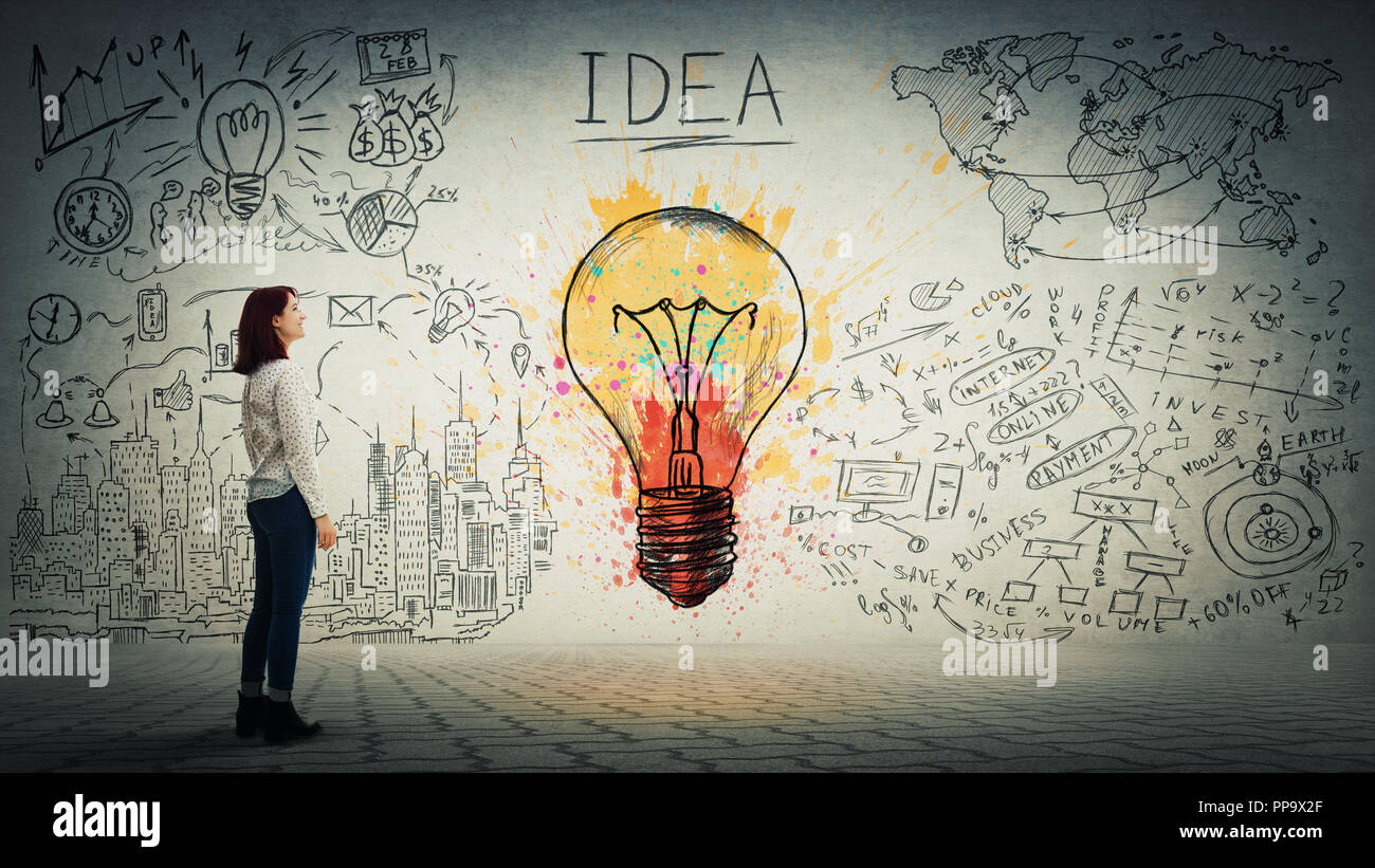 Side view of a pensive young woman looking at the wall with colorful light bulb and business sketch. Uniqueness of the idea and genius concept. - Stock Image