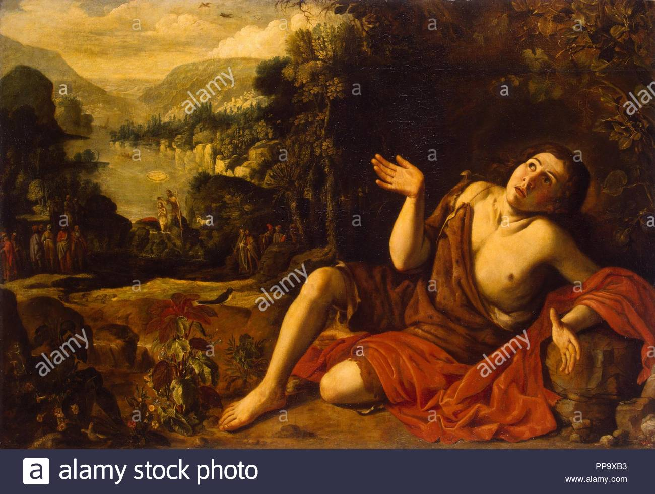 Saint John the Baptist in the Desert. Museum: State Hermitage, St. Petersburg. Author: Collantes, Francisco. - Stock Image