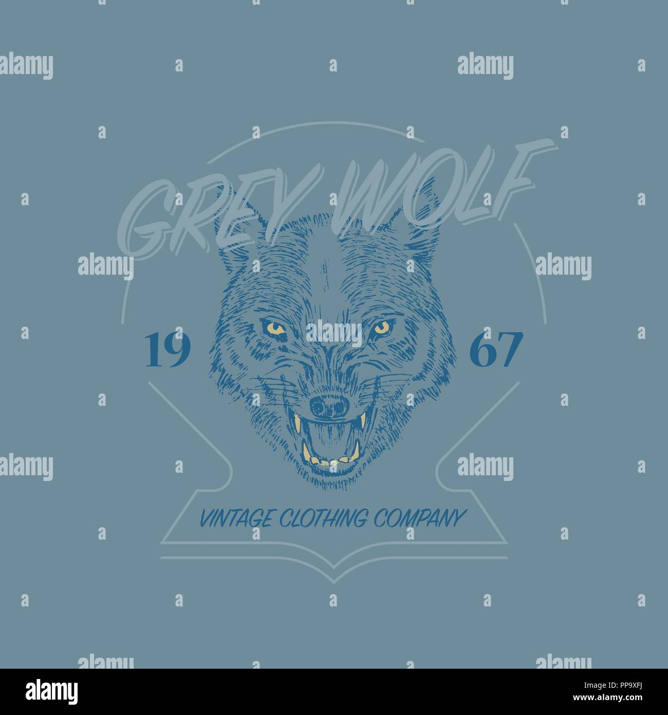 Wild wolf logo  Grunge label print  Angry animal of a