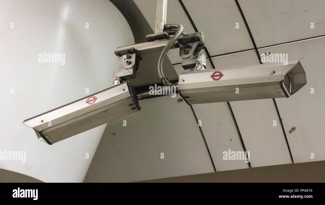CCTV cameras, London Underground Stock Photo