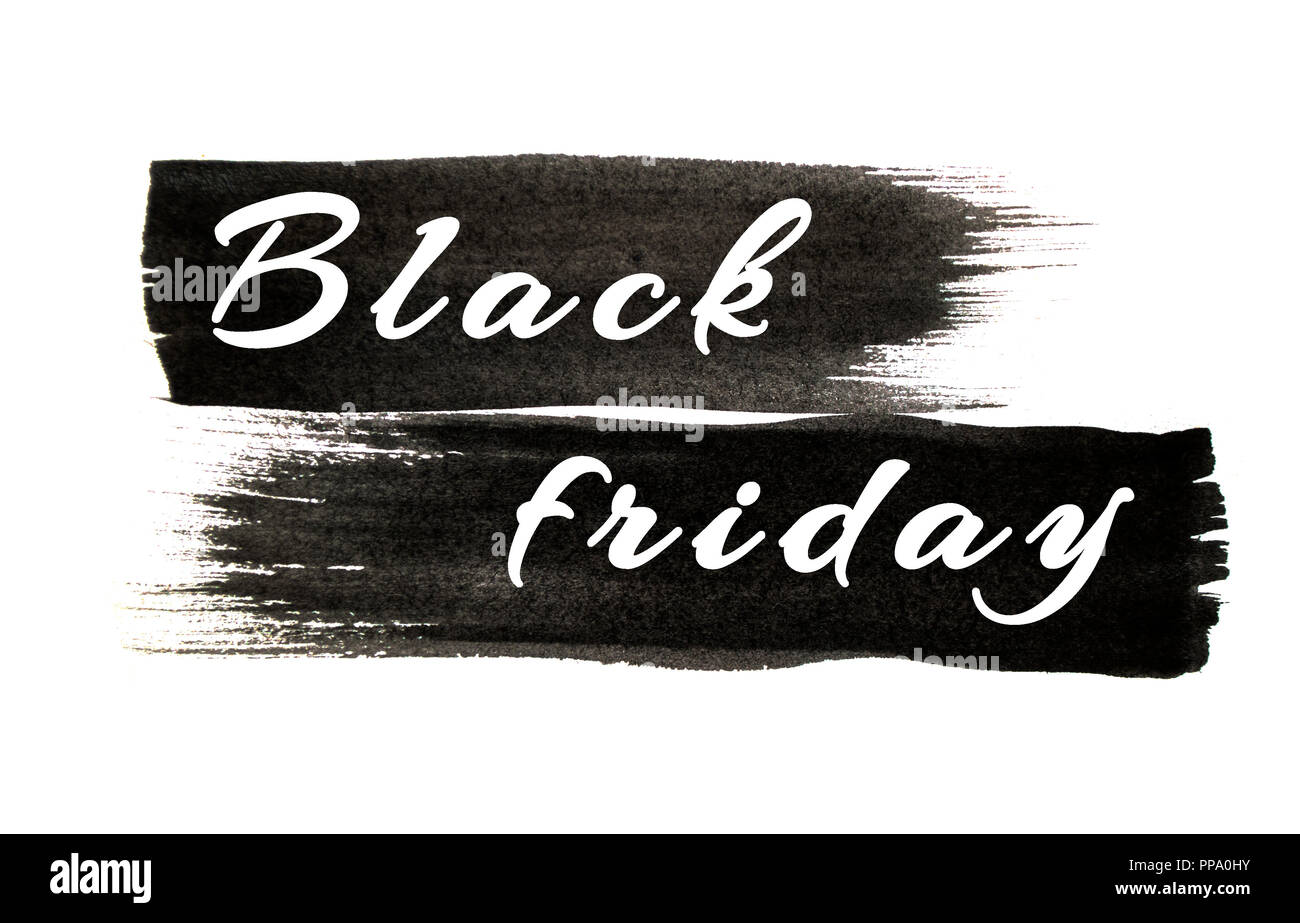 Black Color Paint Strokes Isolated On White Background Black Friday Concept Stock Photo Alamy