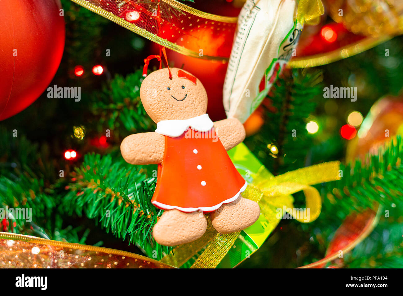 christmas tree decorations christmas tree with beautiful gingerbread man winter holidays concept