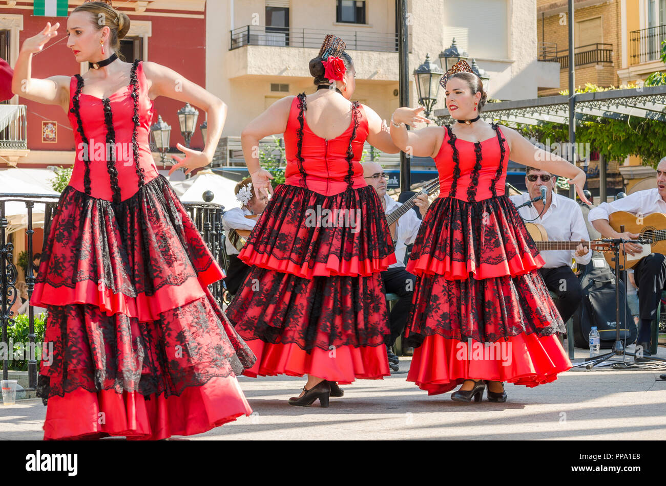 Flamenco dancers, performance, Fandango, Fuengirola a caballo. Annual event, celebration, event, Málaga, Andalusia, Spain. September 2018 - Stock Image