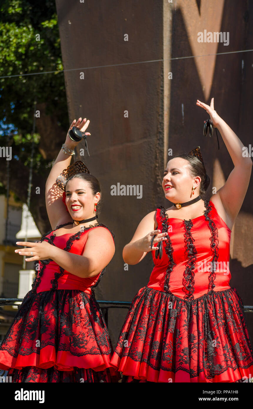Flamenco dancers, Castanets, performance, Fandango, Fuengirola a caballo. Annual event, celebration, event, Málaga, Andalusia, Spain. September 2018 - Stock Image