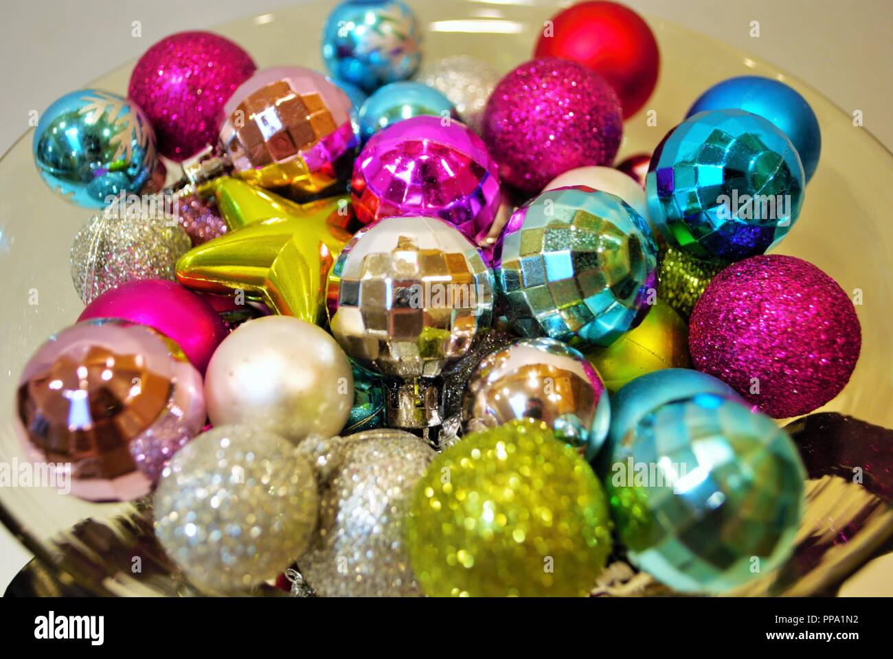 Christmas Decorations In A Bowl High Resolution Stock Photography ...