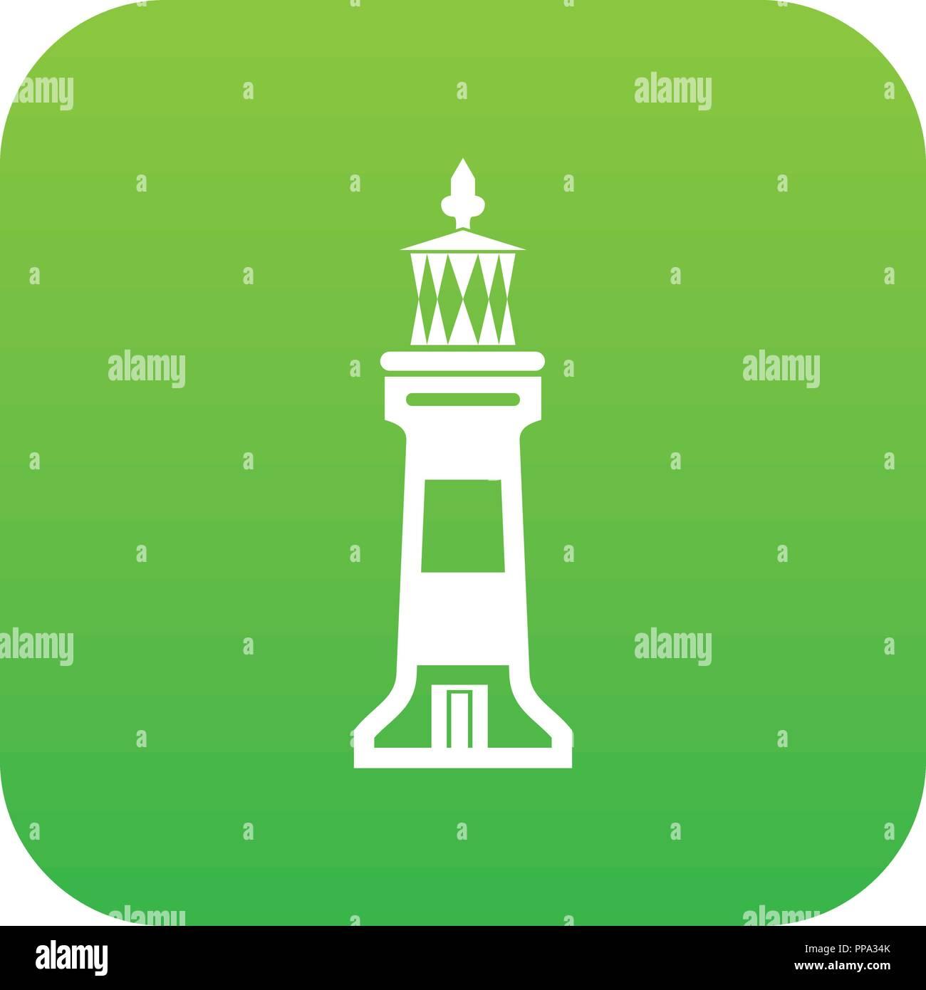 Stone beacon icon green vector - Stock Image
