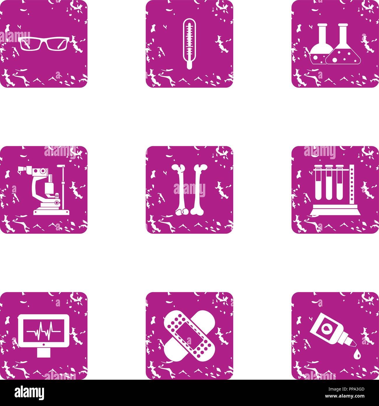 Elemental composition icons set, grunge style - Stock Image