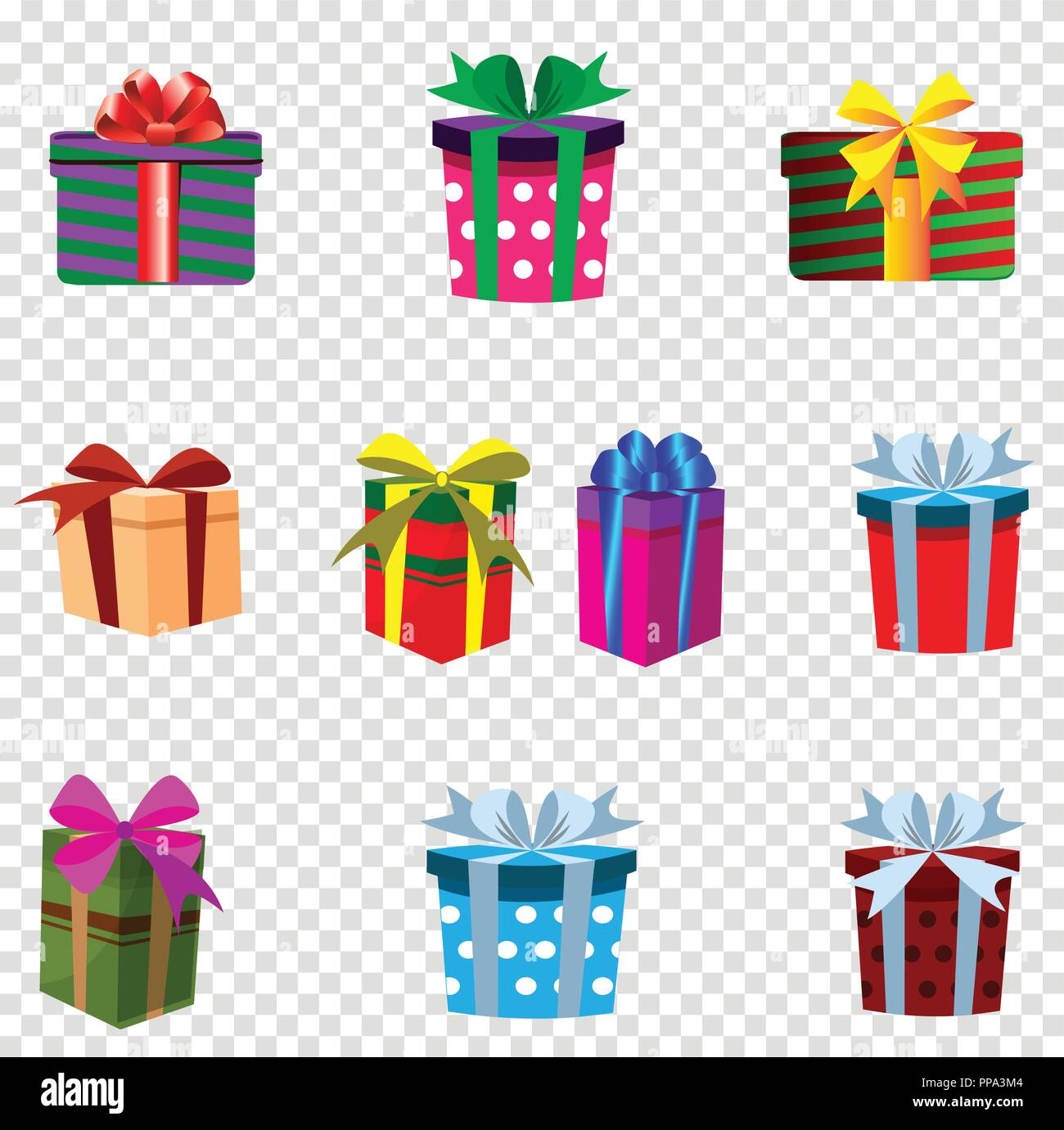 vector set of colourful gift boxes isolated on transparent background christmas new year valentine birthday festive icons clip art presents decor