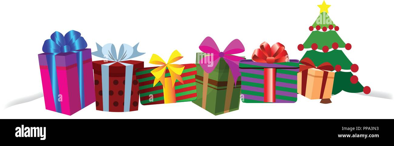 colourful gift boxes on white snow drift christmas or new year border frame background vector illustration of different size presents decorated by r