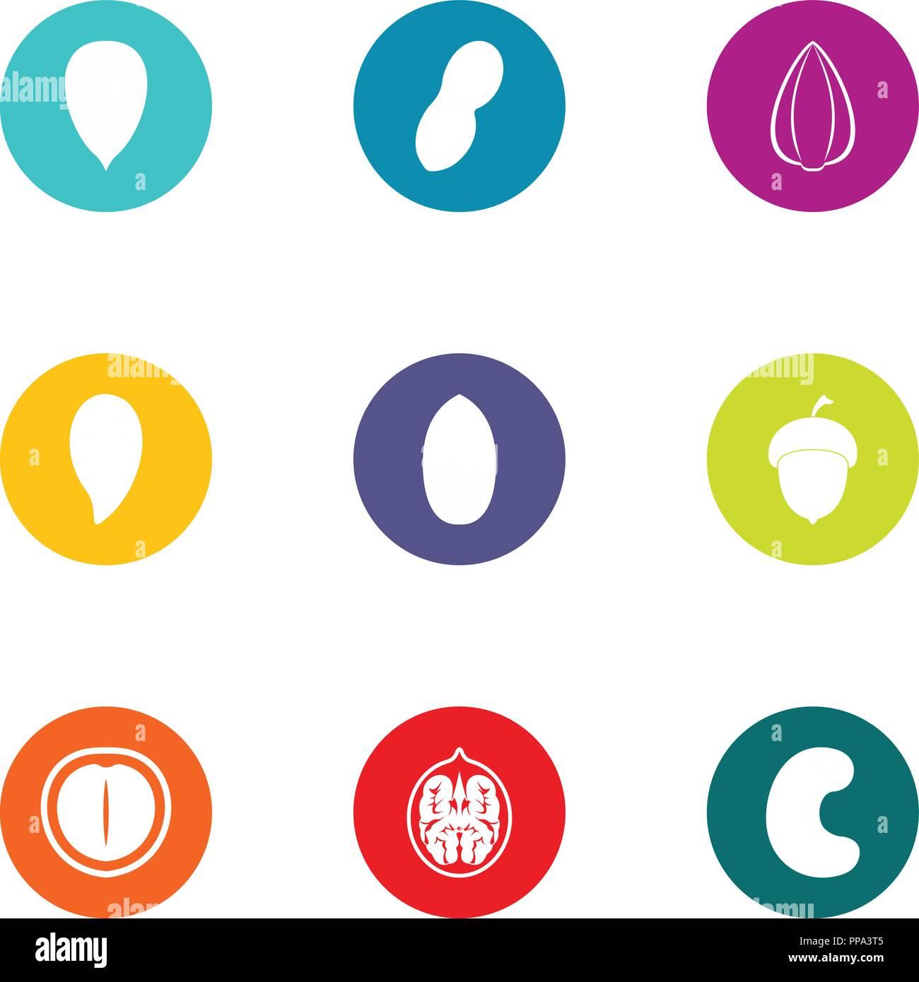 Tonsil icons set, flat style - Stock Image