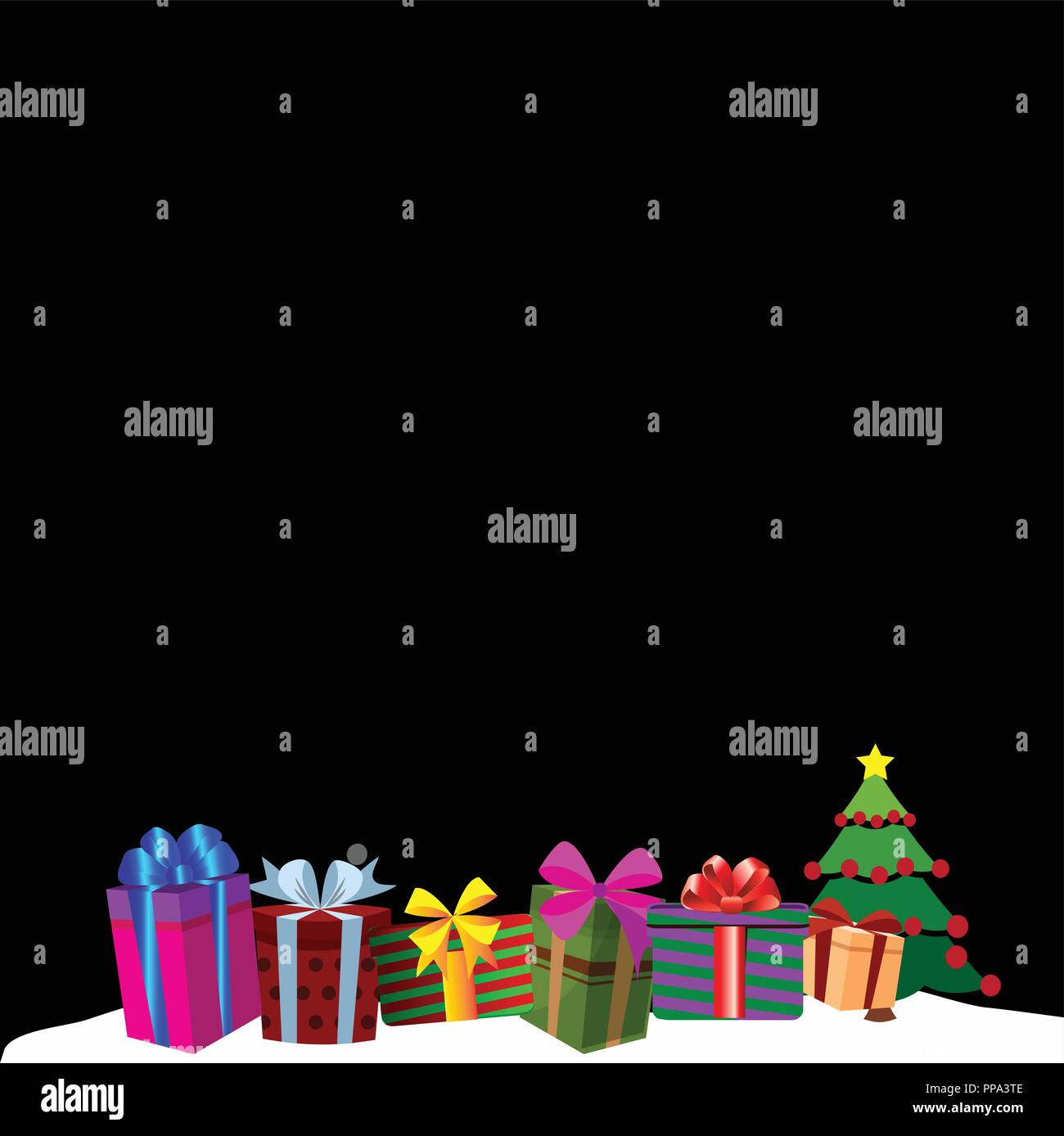 colourful gift boxes on white snow drift christmas or new year border frame background vector illustration of presents decorated by ribbons and bows