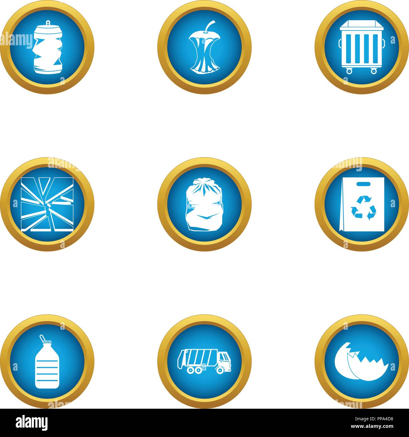 Smithereens icons set, flat style - Stock Vector