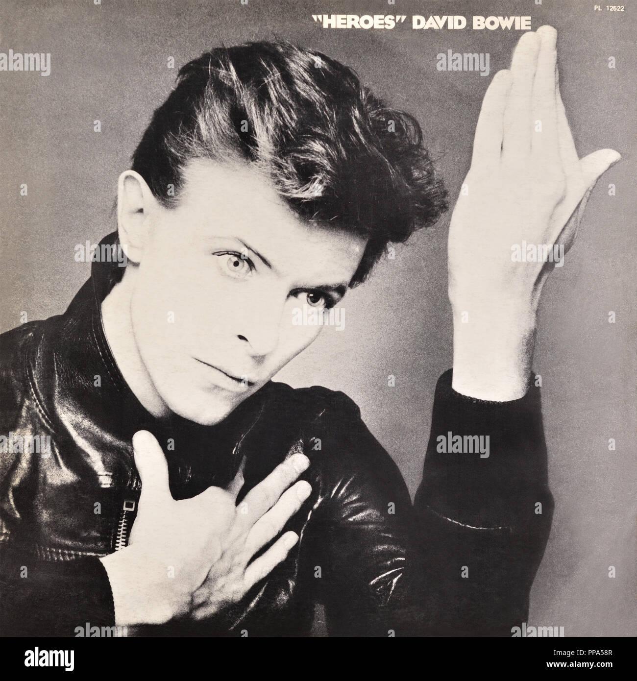David Bowie original vinyl album cover - Heroes - 1977 Stock Photo