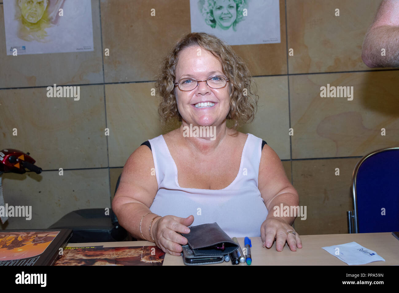 FUERTH, Germany - September 22nd 2018: Katie Purvis (*1967, actress - Maternal Ewok in Star Wars: Return of the Jedi) at Noris Force Con 5, a three da - Stock Image