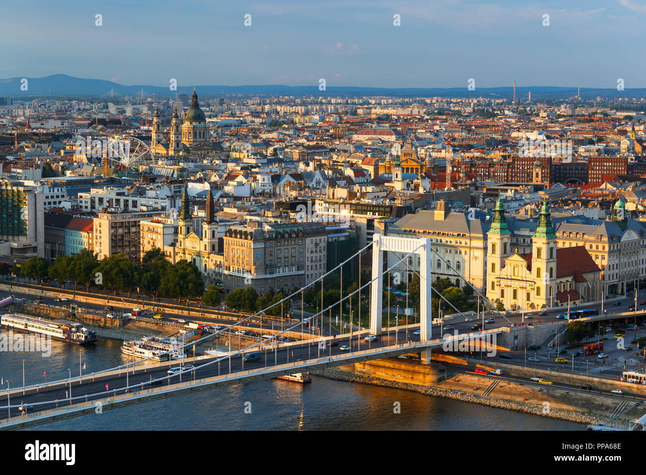 Budapest, Hungary - August 15, 2018: View of city centre of Budapest over the river Danube, Hungary. - Stock Image