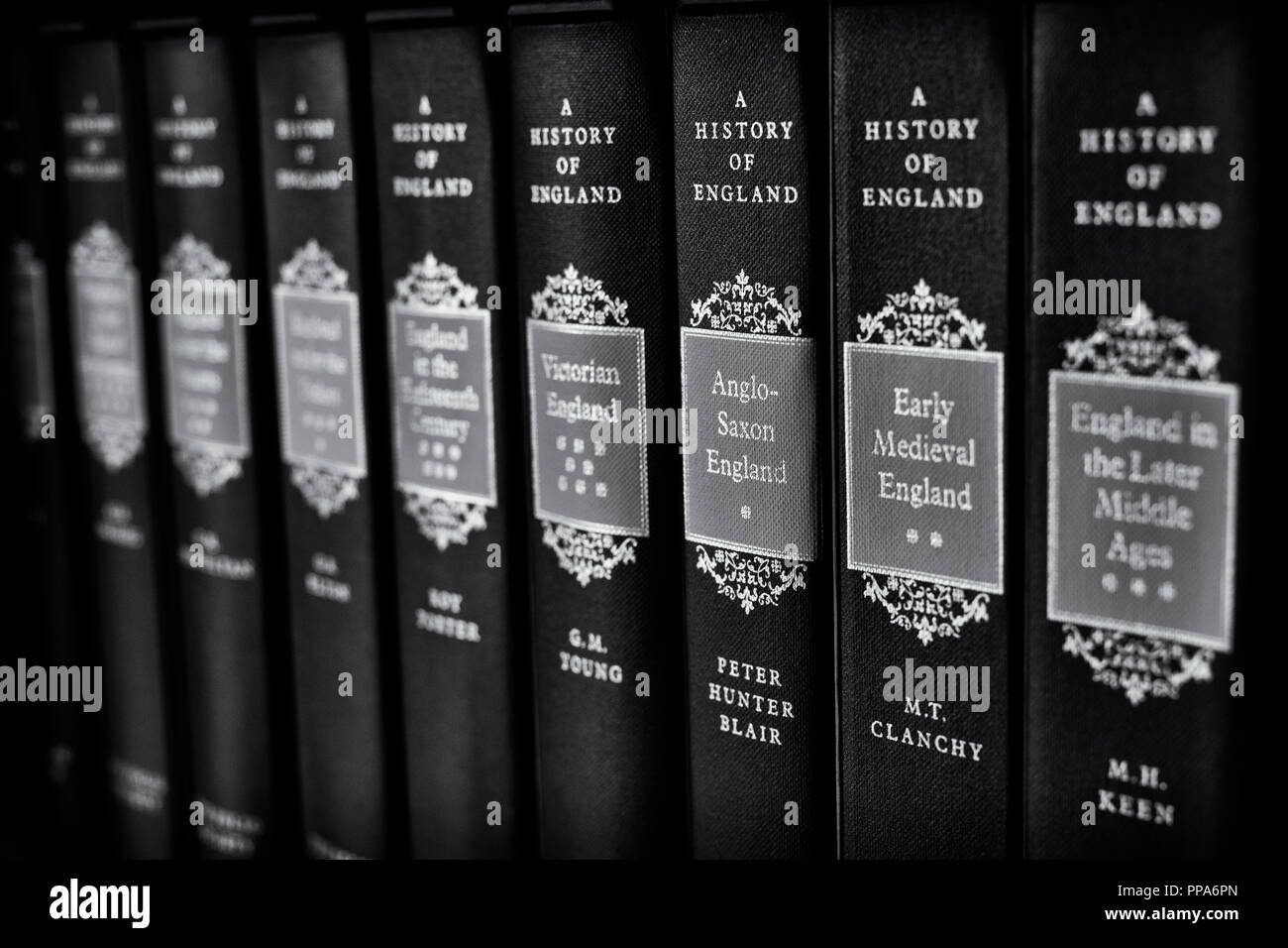 A history of england books on a shelf. selective focus. UK. Black and white - Stock Image