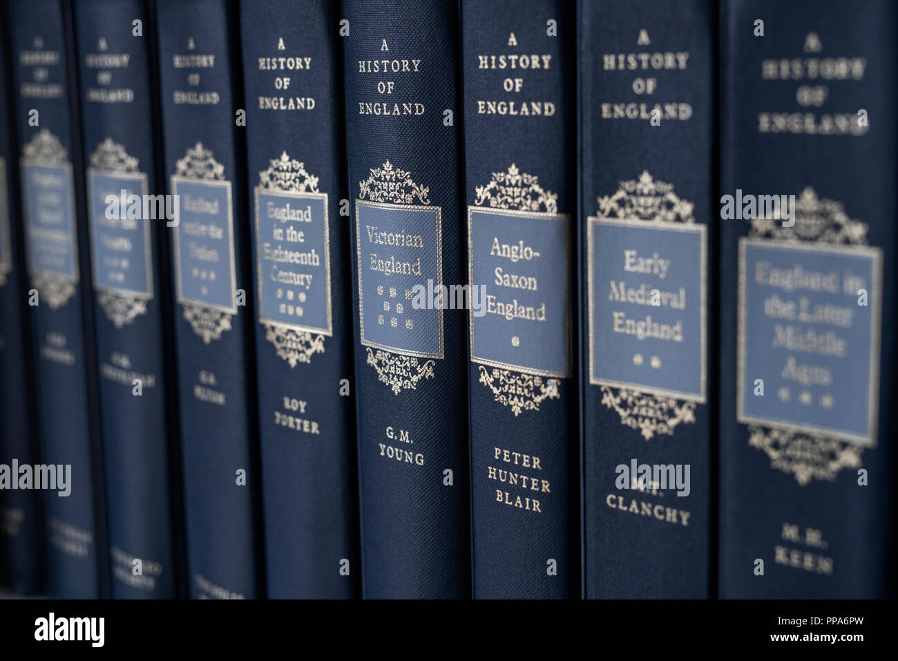 A history of england books on a shelf. selective focus. UK - Stock Image