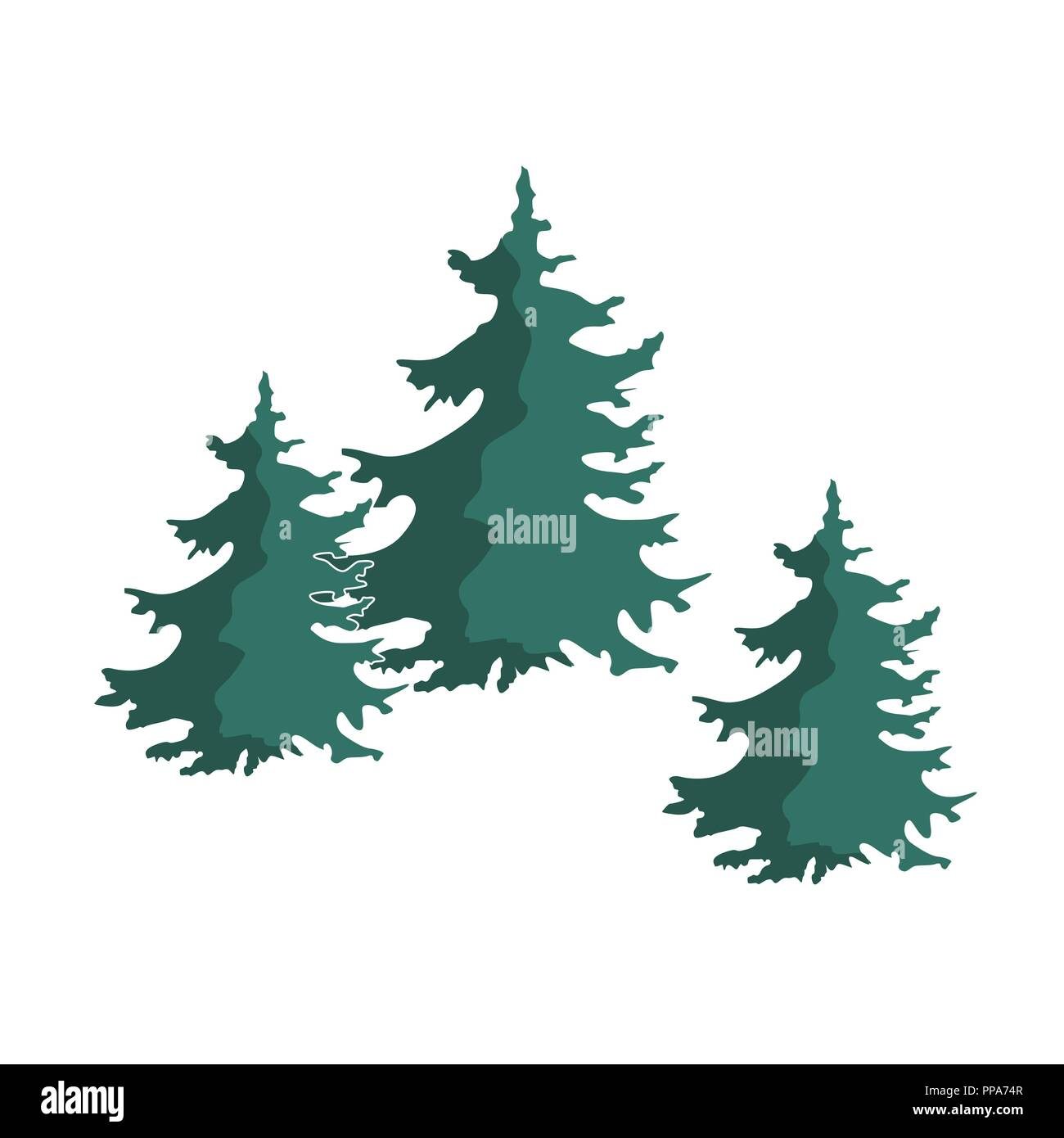 hand drawn christmas tree group isolated on a white background fir tree vector composition