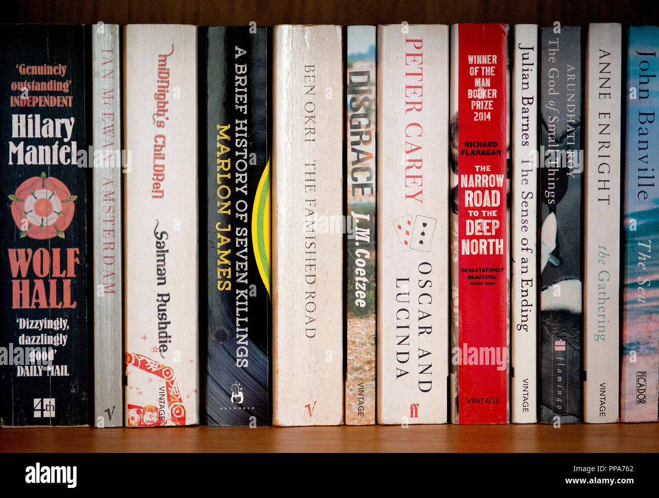 Man Booker Prize winners from past years including the famous novels Midnight's Children, The God of Small Things and Wolf Hall. - Stock Image