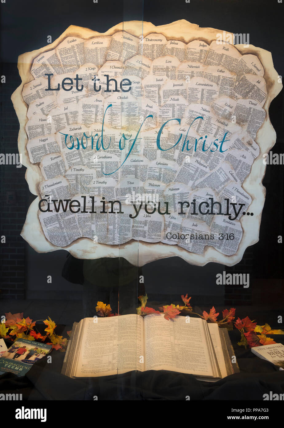Word of Christ display at a Baptist Church in North Central Florida. - Stock Image