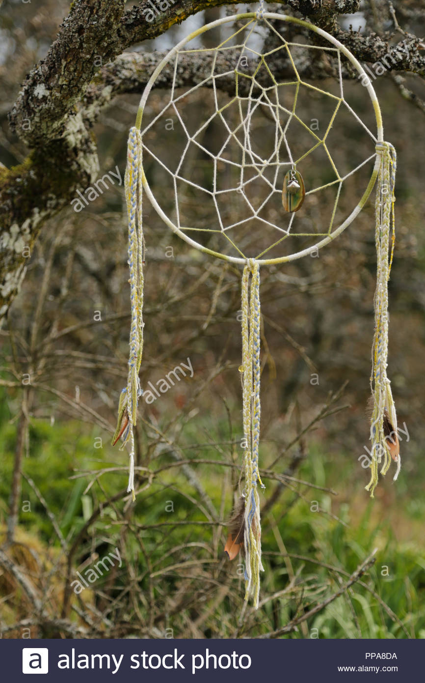 Handcrafted dreamcatcher hanging in a tree. - Stock Image