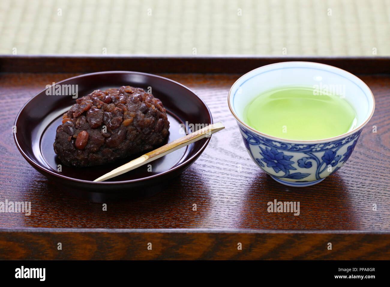 ohagi ( botamochi ), rice cake covered with sweet red bean