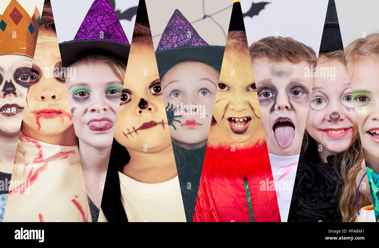 collage of happy children. concept of kids on halloween party stock