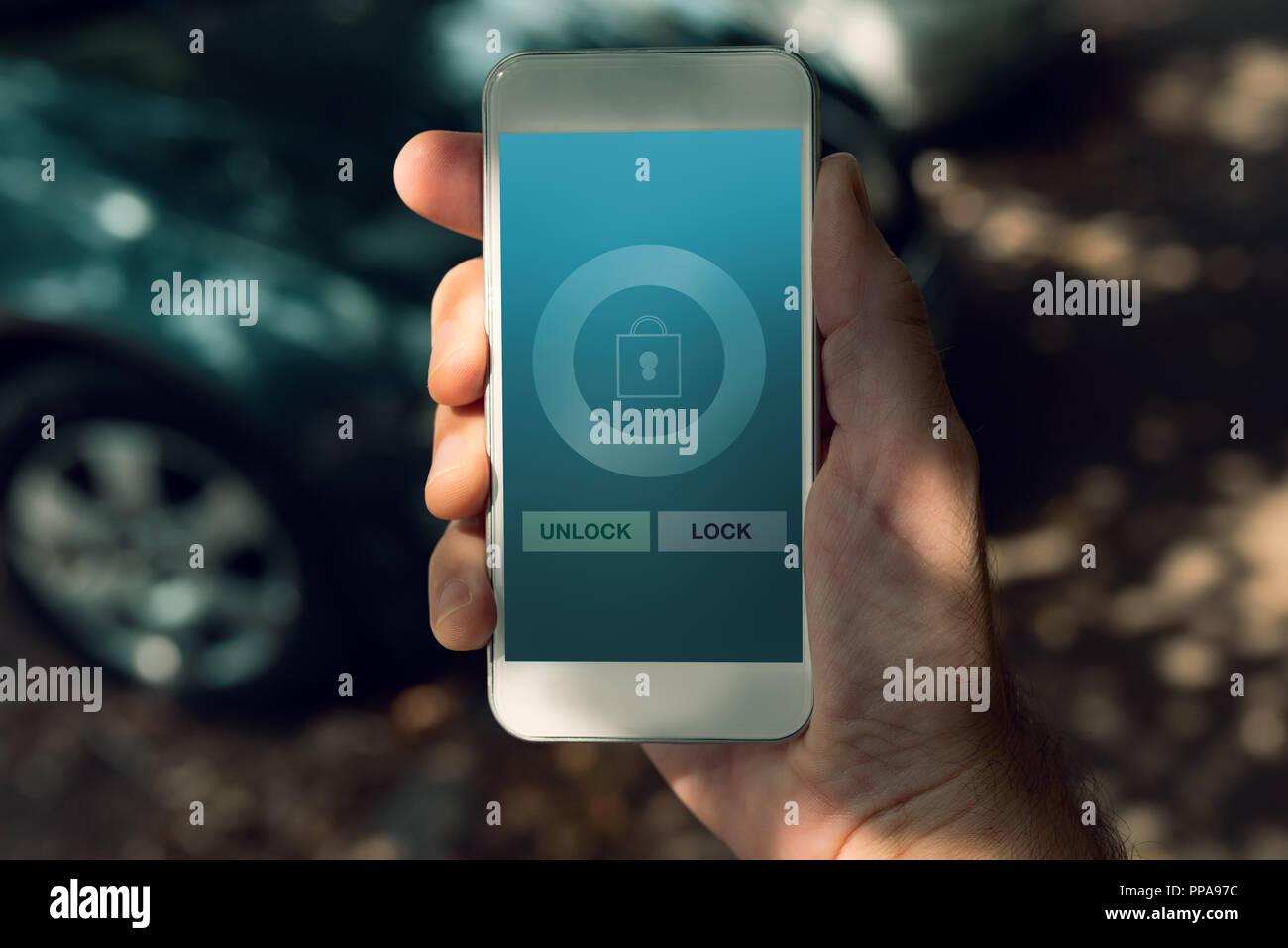 Unlock Car With Phone >> Car Lock And Unlock Smart Phone App Mock Up Screen Stock Photo