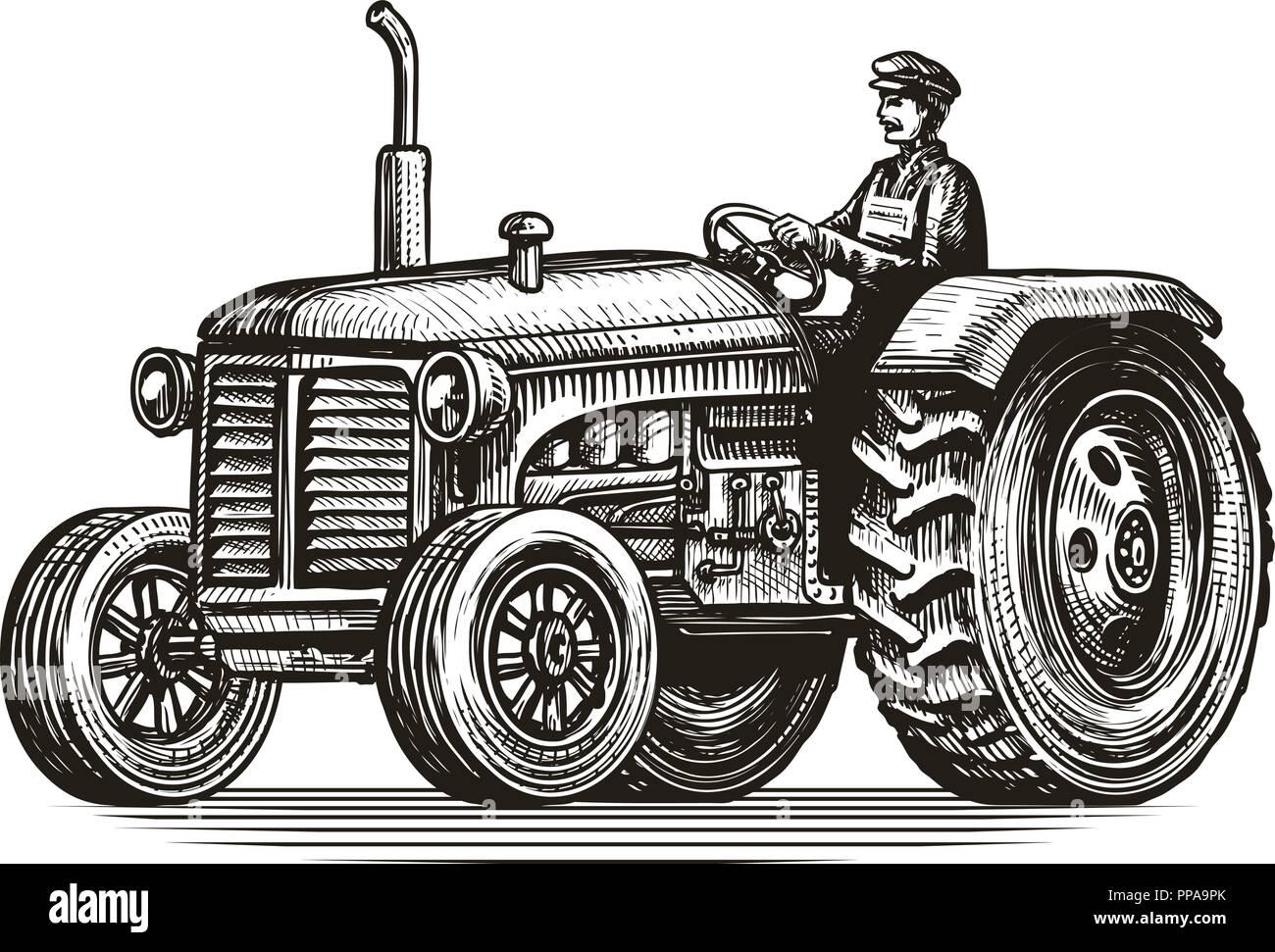 Retro farm tractor, sketch. Vintage vector illustration Stock Vector